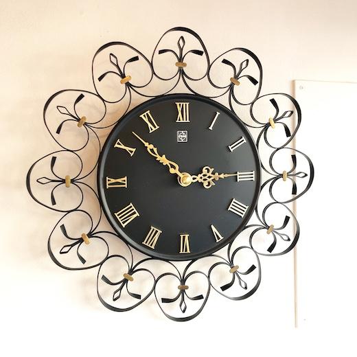 ヴィンテージ時計、壁掛け時計、ウォールクロック、ナショナル、レトロモダン、クルクル