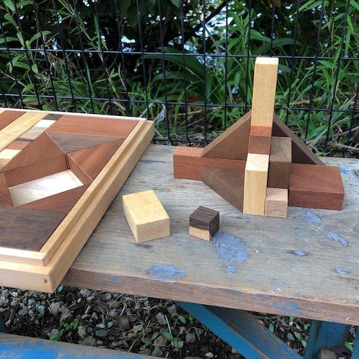 天然木、積み木、大人の積み木、ヴィンテージ、モダンデザイン