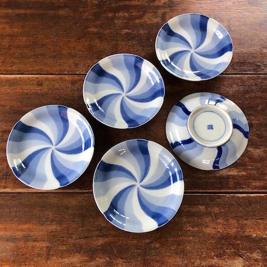 染付捻文銘々皿、古伊万里、和食器、アンティーク、古陶磁、幕末明治