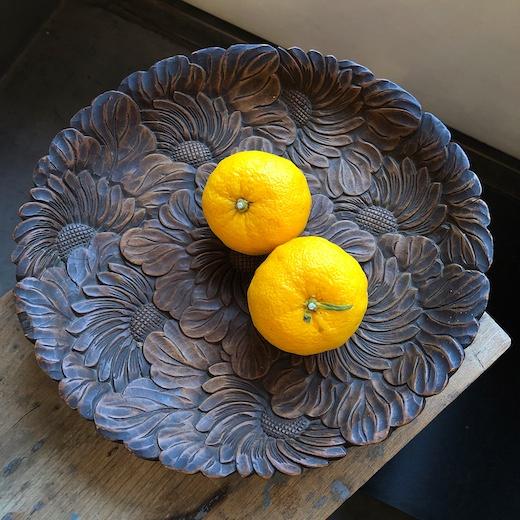 日光彫、木皿、手工芸、ヴィンテージクラフト、冬至、柚子湯