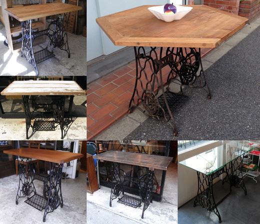 ナンセンスリメイク、リメイクテーブル、ミシン脚テーブル、古材天板、鉄脚テーブル、ヴィンテージ
