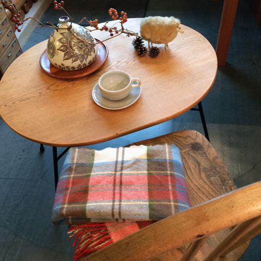 ヴィンテージコーヒーテーブル、鉄脚テーブル