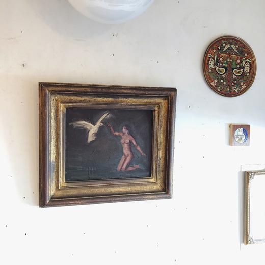 油絵、牧野醇、鳥と裸婦、額裝品、牧野虎雄、戦前