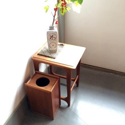 ゴミ箱、木製、ヴィンテージ、チーク