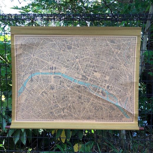 パリ、古地図、マップチャート、掛図、1974年、pari