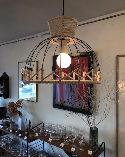 ナンセンス下北沢、リメイク、テーブルランプ、ヴィンテージ照明、ロープ編み、プリミティブモダン