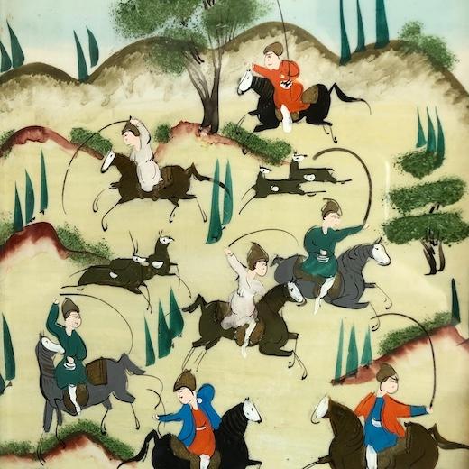 ペルシャ伝統工芸、ハータムカーリー 、ミニアチュール、寄木細工、鹿狩り、ヴィンテージ雑貨、アート