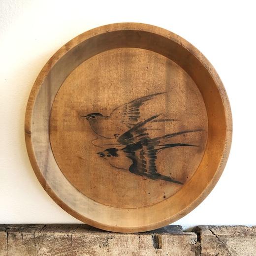 絵皿、墨絵、すずめ、飾り皿、木皿、ヴィンテージ、クラフト