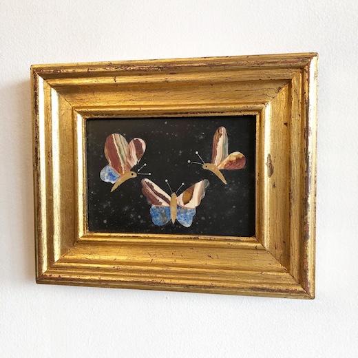 ピエトラデュラ、フローレンスモザイク、象嵌細工、石象嵌、ウォールデコレーション、ヴィンテージアート、蝶、イタリア工芸