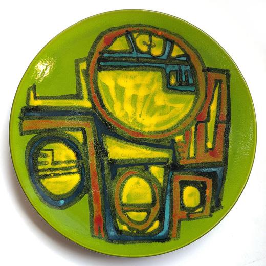 プールポタリー、イギリス陶器、絵皿、大皿、イギリスビンテージ、モダンアート、モダン陶器