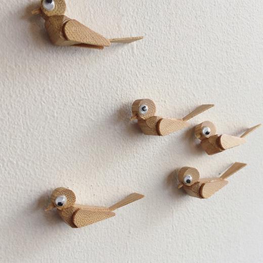 竹細工、鳥、画鋲、クラフト、ヴィンテージ、文房具、レトロ