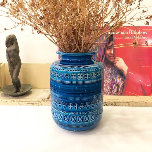 リミニブルー、ビトッシ、イタリア陶器、モダン陶器、フラワーベース、花瓶