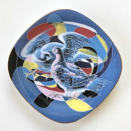 ローゼンタール、絵皿、ハンスエルニ、鳩、平和、モダンデザイン、壁掛け