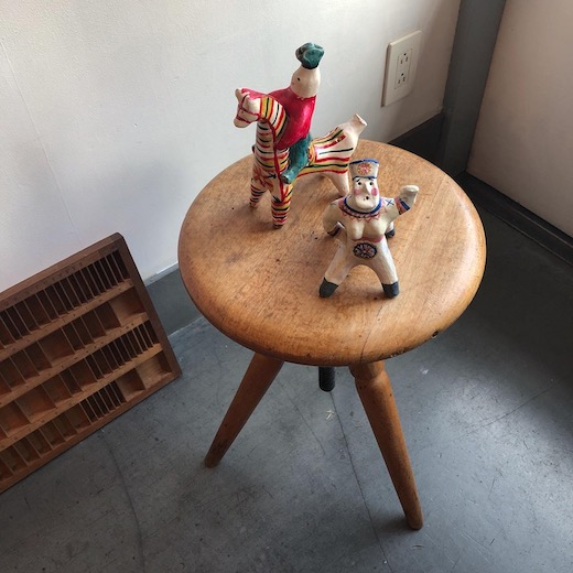 ロシアンクラフト、土人形、フォークアート、ヴィンテージスツール
