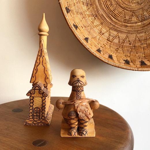ロシア、民芸、土産物、木工品、白樺細工、ヴィンテージ