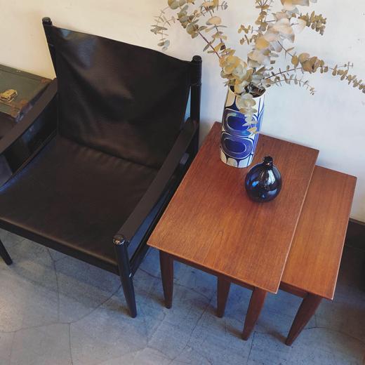 北欧ヴィンテージ家具、チーク家具、ネストテーブル、イージーチェア、北欧モダン