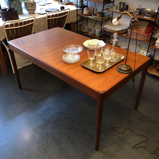 チーク、エクステンションテーブル、青林製作所、ヴィンテージ、北欧モダン、ダイニングテーブル