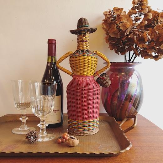 scoubidou、スクービドゥ、ビニール紐編み、人形、ブロカント、ボトル人形、手芸