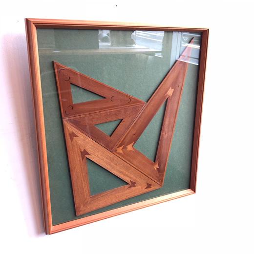 木製三角定規、アンティーク、ヴィンテージ文房具、額裝、留つぎ、木工、アート、木組みパズル
