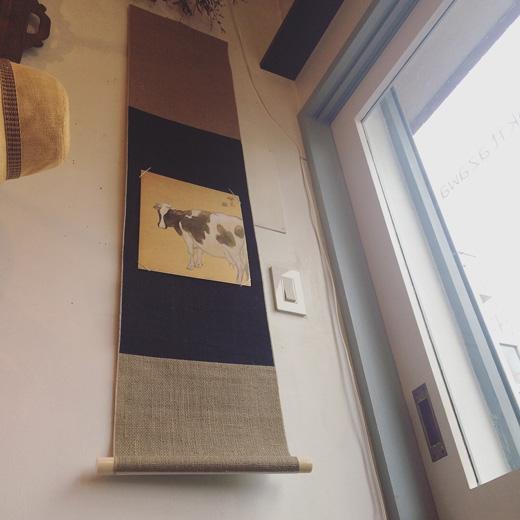 宮原色紙、色紙掛け、床の間、掛軸、和モダン、水墨画、麻地