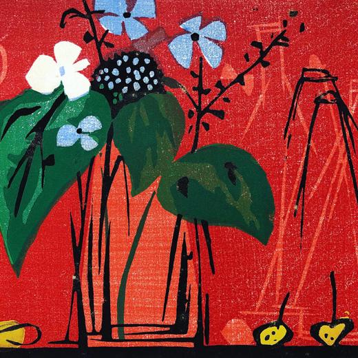 高木志郎、木版画、卓上の花、アジサイ、紫陽花、ガクアジサイ、額裝