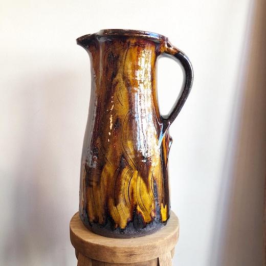 舩木研兒、不志名焼、スリップウェア、民芸陶器、手付壷、花器、バーナードリーチ