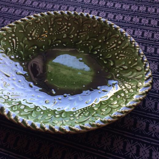 スリップウェア、舩木伸児、緑釉楕円鉢、民芸、クラフト