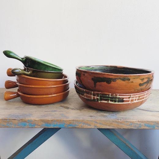 スリップウェア、オーブンウェア、スペイン陶器、民陶、ヴィンテージ焼き物、テラコッタ