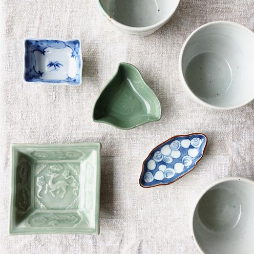 骨董、豆皿、染付、青磁、三田青磁、和食器