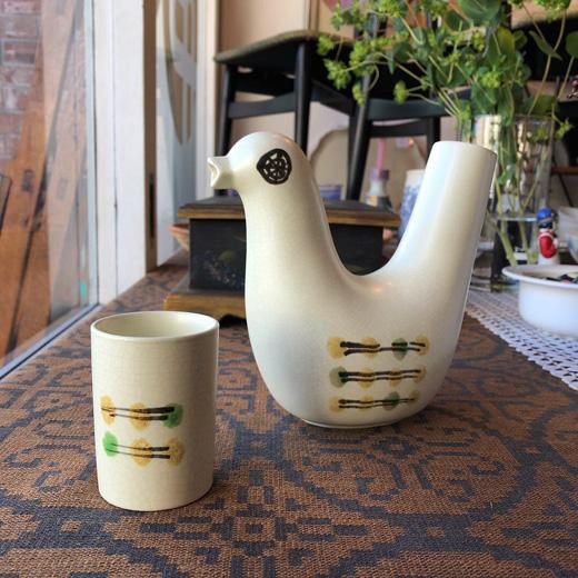 冠水瓶、鳥デザイン、日本クラフト、陶器、水差し