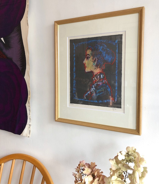 荻太郎、リトグラフ、横顔、美人画、額装品、モダン