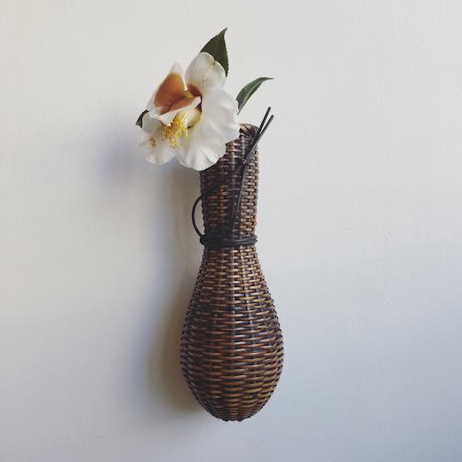籐籠花入、竹工芸、数馬竹祐、和モダン、ひょうたん籠、掛花入、茶道具