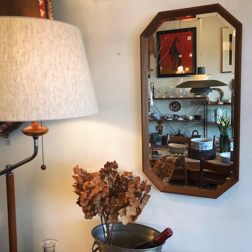 八角形、ミラー、チーク家具、モダン