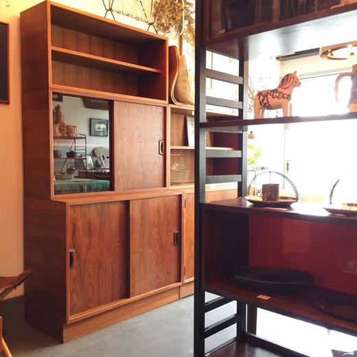 チーク家具、ヴィンテージ家具、ユニットシェルフ、食器棚、北欧モダン、北欧インテリア