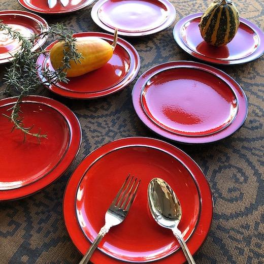 ヴィンテージ、ドイツ食器、トーマス、ローゼンタール、scandic、赤い皿、赤釉、プレート、モダン食器