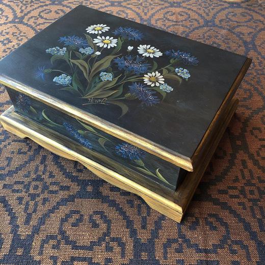 トールペイント、ボックス、木箱、ボタニカル、ハンドクラフト、フォークアート、ヴィンテージ雑貨