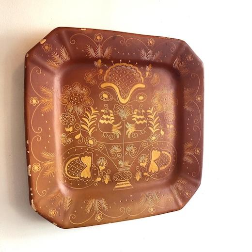 テラコッタ、陶板、絵皿、線刻文、プリミティブアート、ヴィンテージ、スペイン