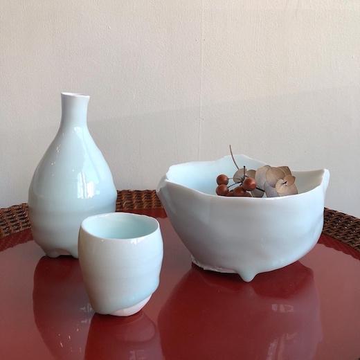 加藤委、陶芸家、青白磁、酒器、ぐい呑、徳利
