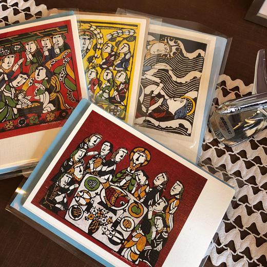 渡辺禎雄、型染版画、クリスマスカード、聖書、絵葉書、芹沢銈介