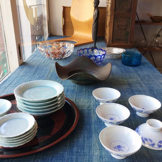 和モダン、テーブルコーディネート、器、白磁、和食器、ヴィンテージ、切子、ガラス器
