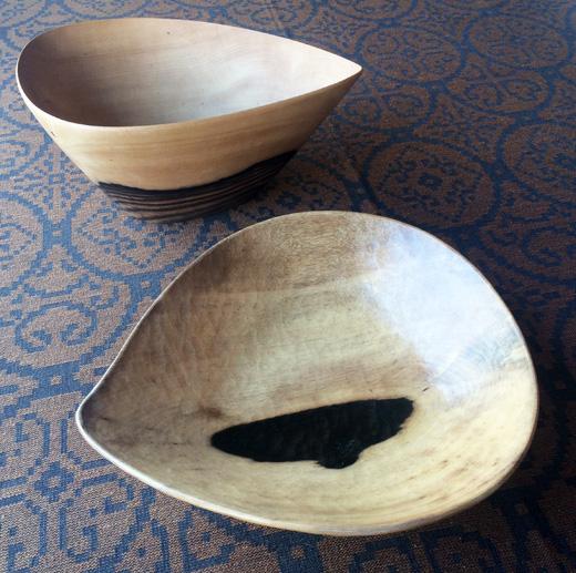 青峰重倫、木工芸、黒柿鉢、モダンクラフト、1960年代、ヴィンテージ、工芸