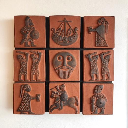 北欧ヴィンテージ、陶板、壁掛け、バイキング、フォークアート、thyssenkeramik、lizziethyssen