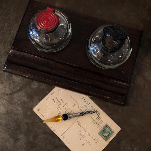 イギリスヴィンテージ、インク壺、ガラスペン、付けペン、ヴェネツィアングラス、文房具、ヴィンテージ