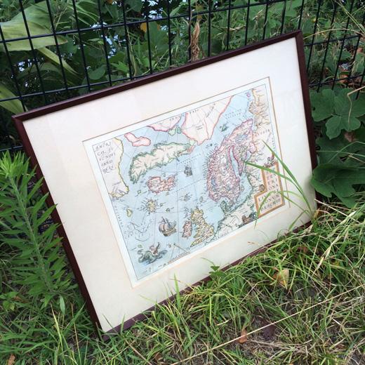 北欧の古地図、アンティークフレームvintage.antiquemap.scadinavian