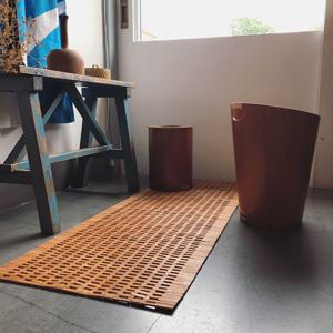 竹マット、ヴィンテージ、クラフト、サイトウウッド、ゴミ箱、チークプライウッド
