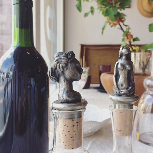 木内克、 ボトルストッパー、飾り栓、替え栓、コルク栓、フィギュリン、女性像、ブロンズ像、和光、ヴィンテージ、1960年代