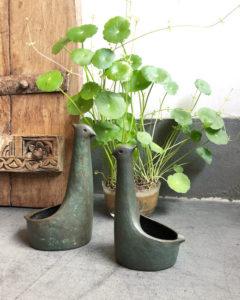 銅器、青銅、水鳥、慶寺丹長、花器、苔鉢、苔盆栽