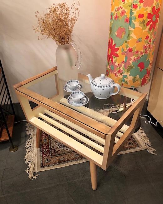 ヴィンテージ家具、コーヒーテーブル、ガラステーブル、ナチュラルモダン、リメイク
