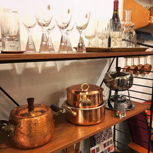 ヴィンテージ、キッチンウェア、鍋、銅鍋、鉄鍋、すき焼き鍋、オーブン、ダンスク鍋、フォンデュセット