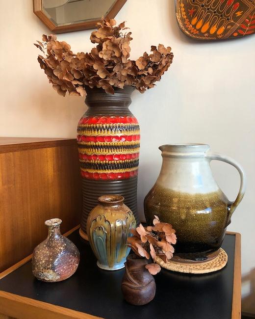 ヴィンテージ、フラワーベース、花瓶、ファットヴァ、リーチ型ピッチャー、信楽焼、新生活